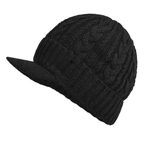 d9e56e1af Janey&Rubbins Sports Winter Knit Visor Beanie with Bill Hat for Men and  Women