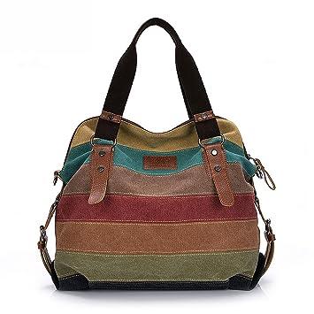 34788837598b8 Mehrfarbig gestreift Canvas Handtasche Schultertasche Umhängetasche Shopper  Tasche Vintage Hobo Bags (Style 2)
