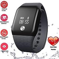 Frompr® - Reloj inteligente con Bluetooth A88 + (0,66 pulgadas, OLED, medidor de presión arterial, oxígeno, monitor de ritmo cardíaco, distancia del sueño, calorías, impermeable, para iPhone iOS y Android)