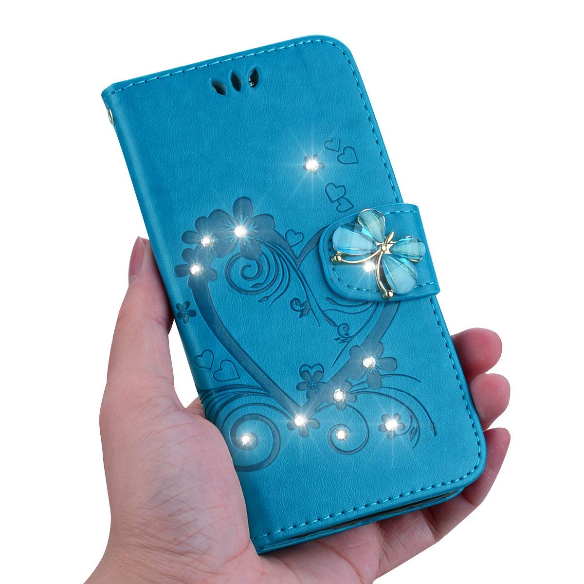 IKASEFU Galaxy S9 Plus Case,Shiny butterfly Rhinestone Emboss Love Floral Pu Leather Diamond Bling Wallet Strap Case with Card Holder Magnetic Flip Cover Compatible with Samsung Galaxy S9 Plus,gold