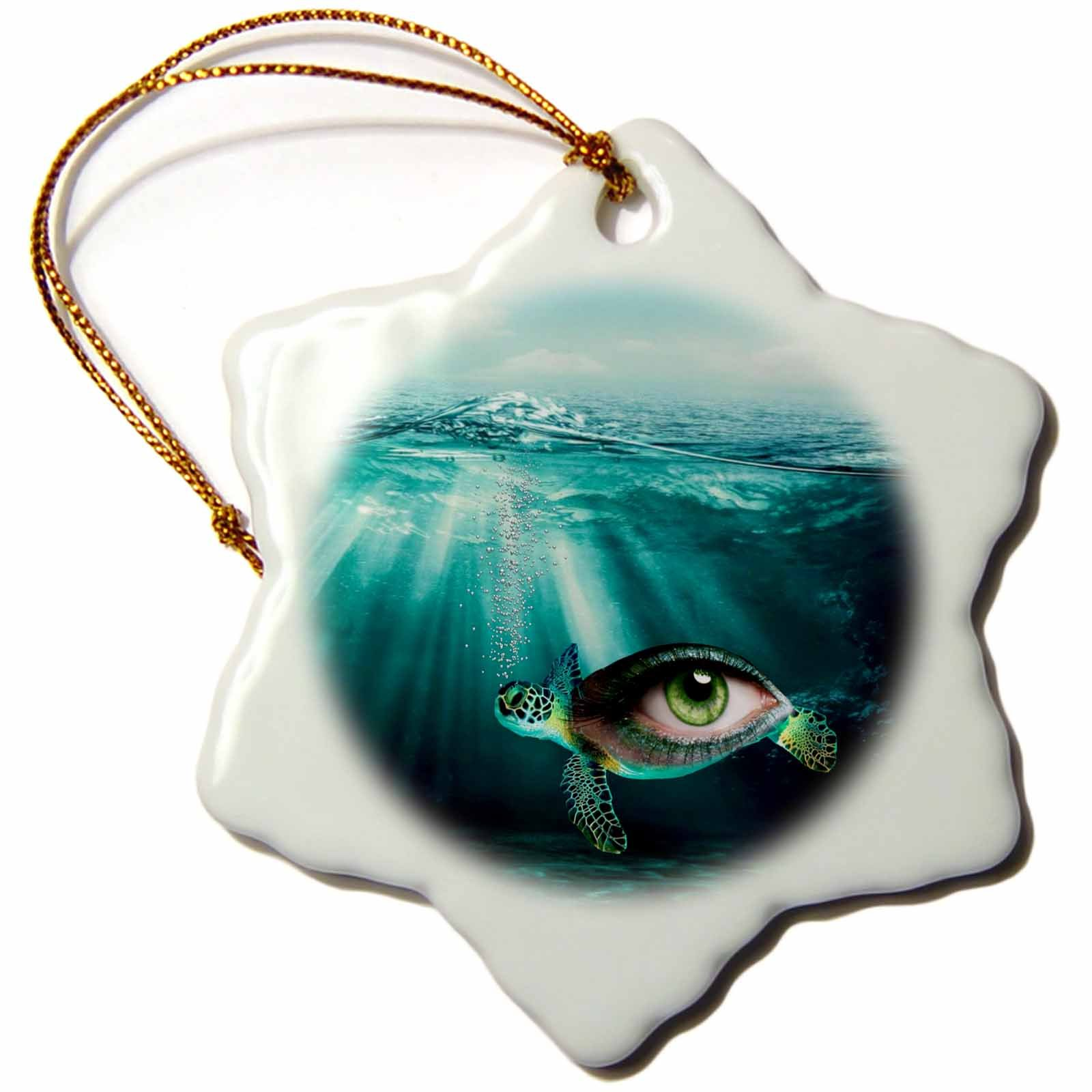 3dRose Photo of an Eye Inside a Turtle Under Water Fantasy Animal Snowflake Ornament, 3''