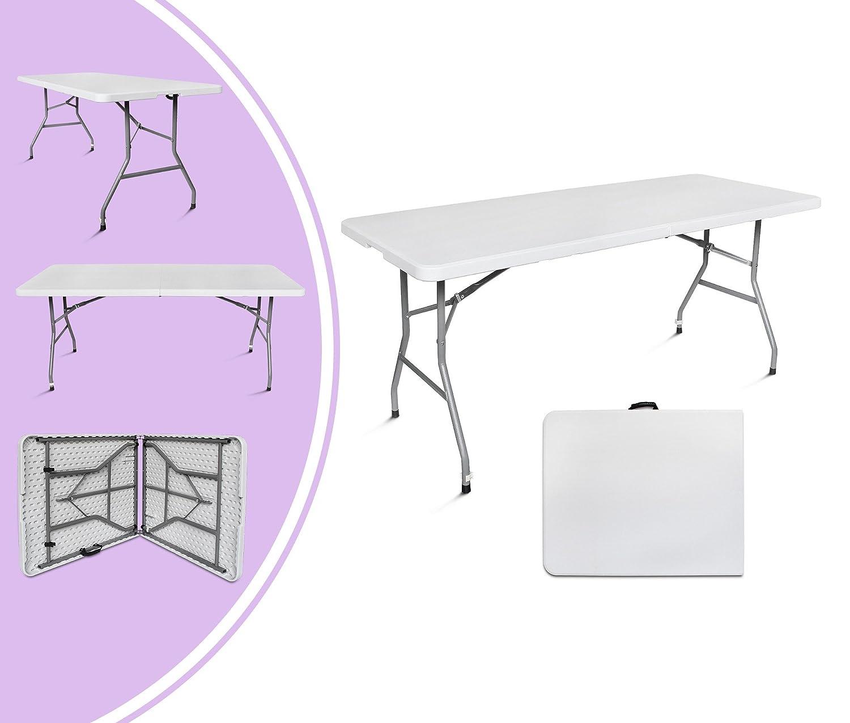 LeoGrün - Klappbarer Tisch , Garten Klapptisch, 180 x 74 cm, Weiß, Grifftyp: Inklusive GRATIS Tragegriff