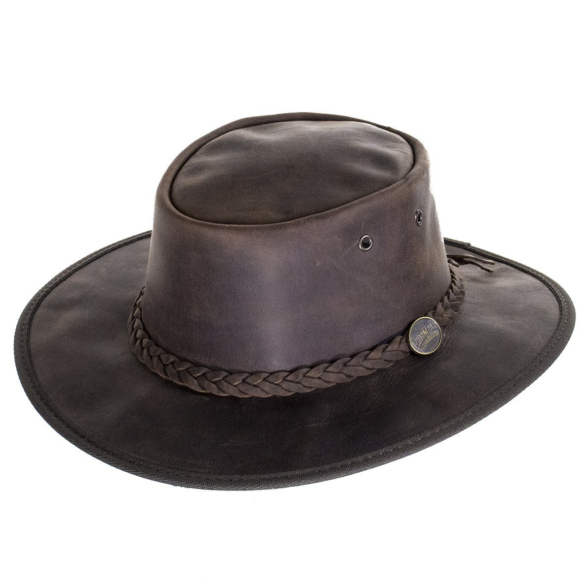 Barmah Foldaway Bronco Leather Outback Hat in Brown