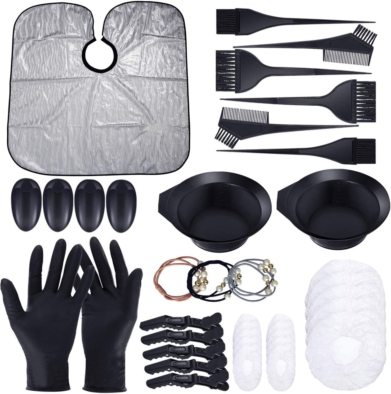Cefanty 44 Pcs Hair Dye Coloring Kit,Hair Tinting Bowl,Dye Brush,Ear Cover,Hair Ties,Gloves for DIY Salon Hair Coloring Bleaching Dryers Tools
