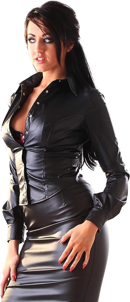 Honour - Camisa para mujer (aspecto de piel), color negro: Amazon.es: Salud y cuidado personal