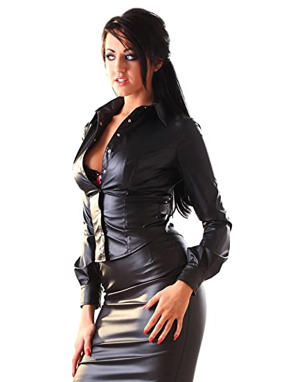 574d78cdd1 Honour Women s Sexy Shirt in Leather Look Black Shaped Hem Top with  Trimmings  Amazon.co.uk  Clothing