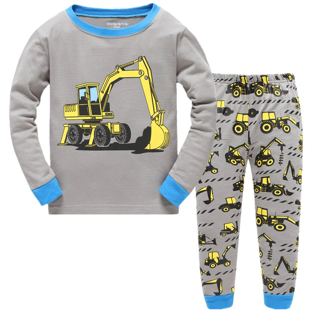 Cczmfeas Boys Short Pajamas Children Cartoon PJs Kids Long Sleeves Sleepwear 2 Piece