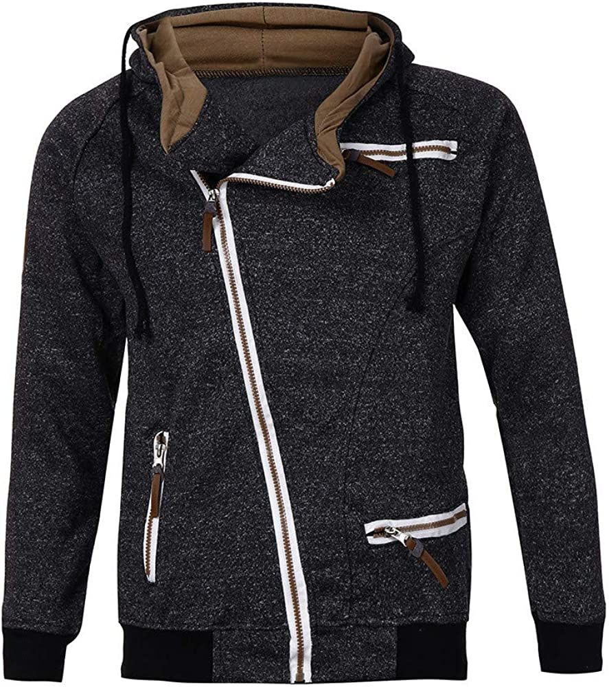 Generic Mens Irregular Hip-Hop Hoodies Hipster Elong Front-Zip Sweatshirt Jackets