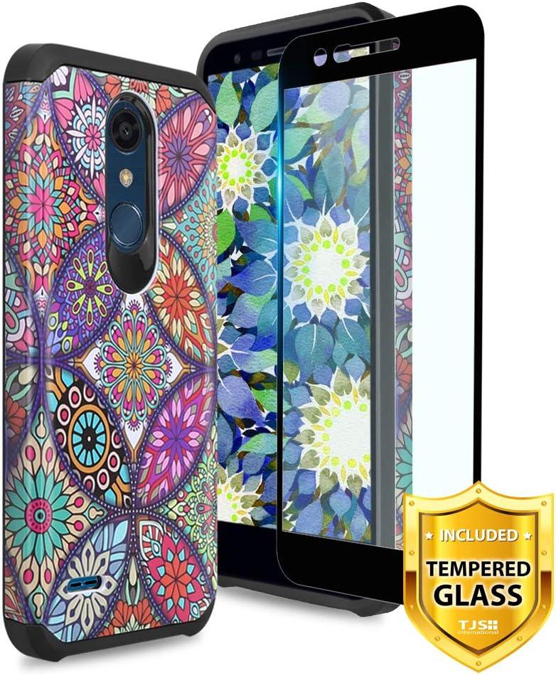 TJS LG K10 2018/LG K30/LG Premier Pro LTE/LG Harmony 2/LG Phoenix Plus Case, [Tempered Glass Screen Protector] Dual Layer Hybrid Shockproof Protection Rugged Phone Case Cover (Colorful Mandala)
