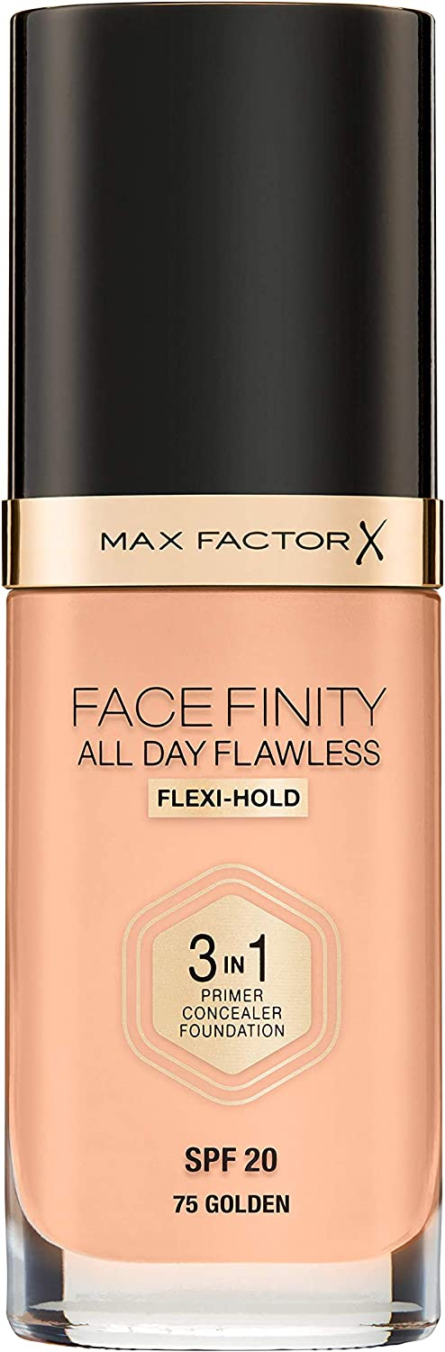 Max Factor SPF 20 Facefinity All Day Flawless 3 in 1 Foundation for Women, 75 Golden, 1 Ounce