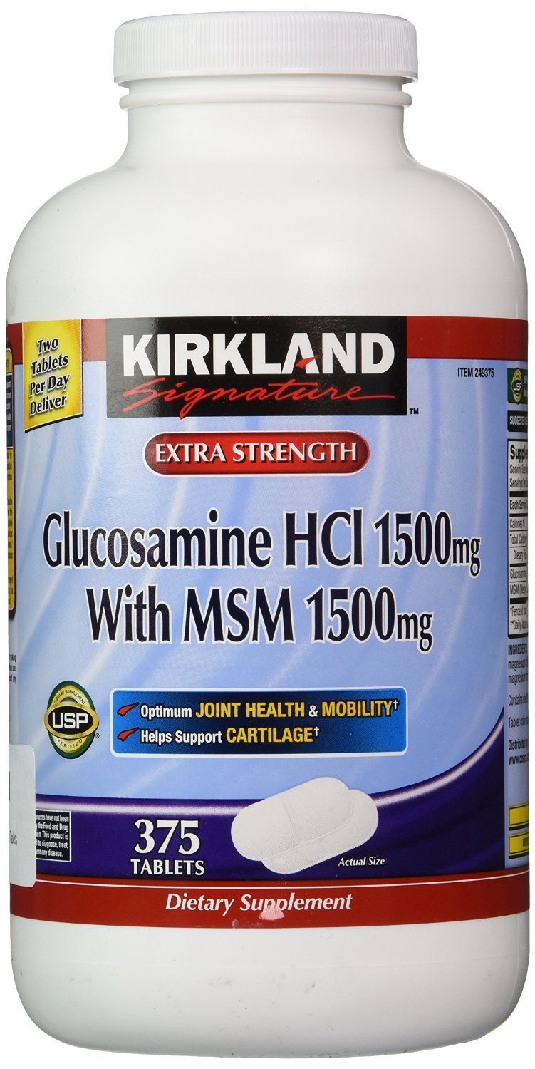 Kirkland Signature Extra Strength Glucosamine HCI 1500mg, With MSM 1500 mg, 375-Count Tablets , Pack of 3