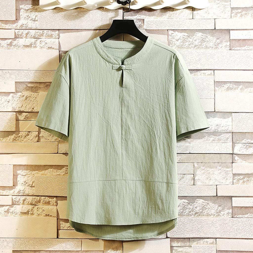 Xiloccer Mens Summer New Flax Five-Sleeve Loose Short Sleeves Fashion Comfortable Blouse