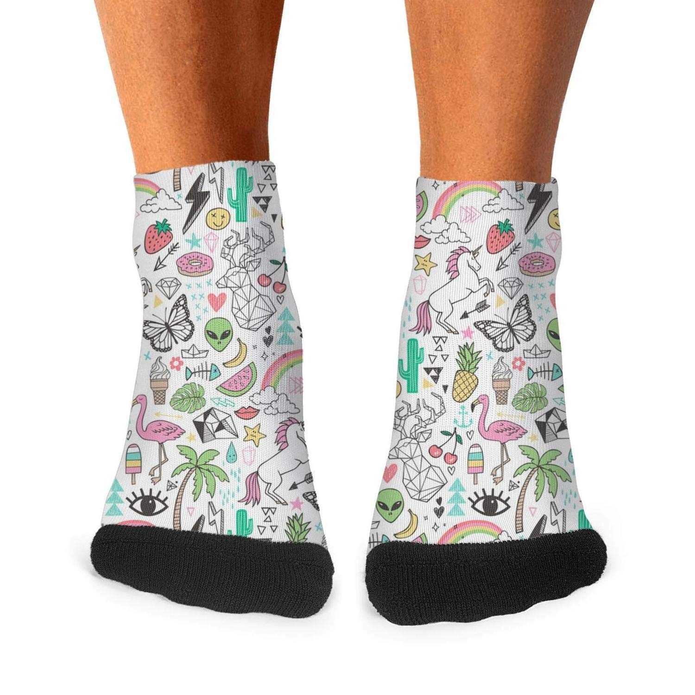 Mens athletic low cut Ankle sock Rainbow Cactus Flamingo Pineapple Short Comfort Sock
