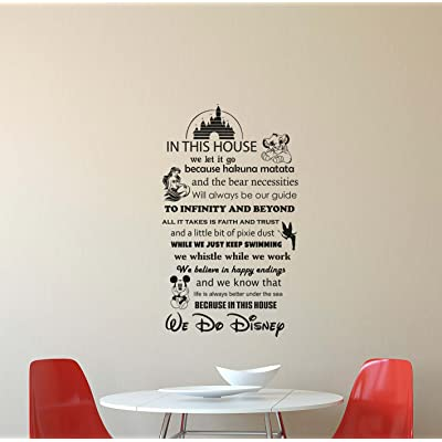 In This House We Do Disney Wall Decal Walt Disney Quote Lettering Vinyl Sticker Living Room Boy Girl Teens Kids Decorations Housewares Home Bedroom Nursery Decor Art Poster Mural Custom Print 415: Home & Kitchen