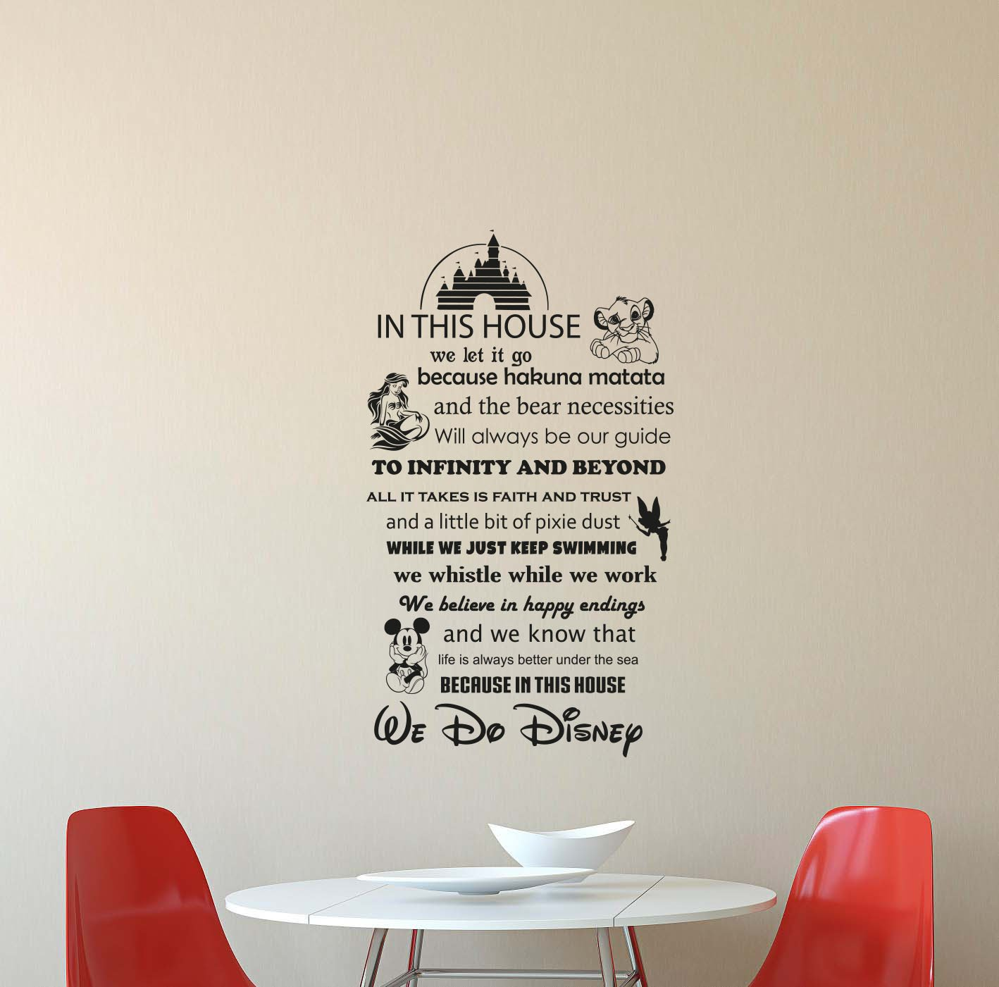 In This House We Do Disney Wall Decal Walt Disney Quote Lettering Vinyl Sticker Living Room Boy Girl Teens Kids Decorations Housewares Home Bedroom Nursery Decor Art Poster Mural Custom Print 415