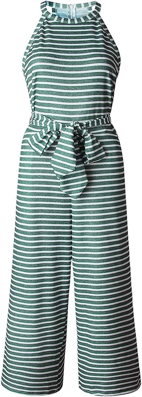 Kikole Womens Sleeveless Jumpsuits Striped Waist Belted Spaghetti Strap Wide Leg Jumpsuit Rompers