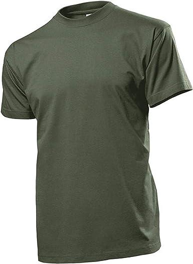 Camiseta de color verde oliva Hombres Anillo para hombre Camisa Cuello Redondo 100% algodón de lanzado, Single de jersey 185 g de m² – Camiseta # 12817: Amazon.es: Ropa y accesorios