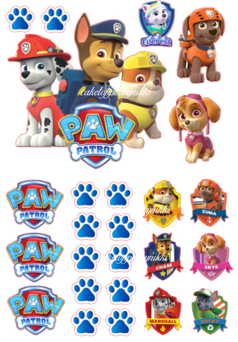 **PRECUT ICING** PAW PATROL Cake Decoration Set EASY PEEL & ATTACH None