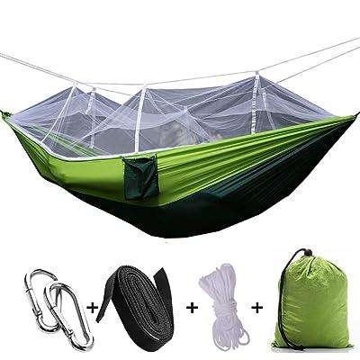 2personne Hamac de Jungle avec moustiquaire, portable Cordon extérieur Mosquito Barre de couchage Hamac Lit double Vert à suspendre Lit pour le camping et la randonnée