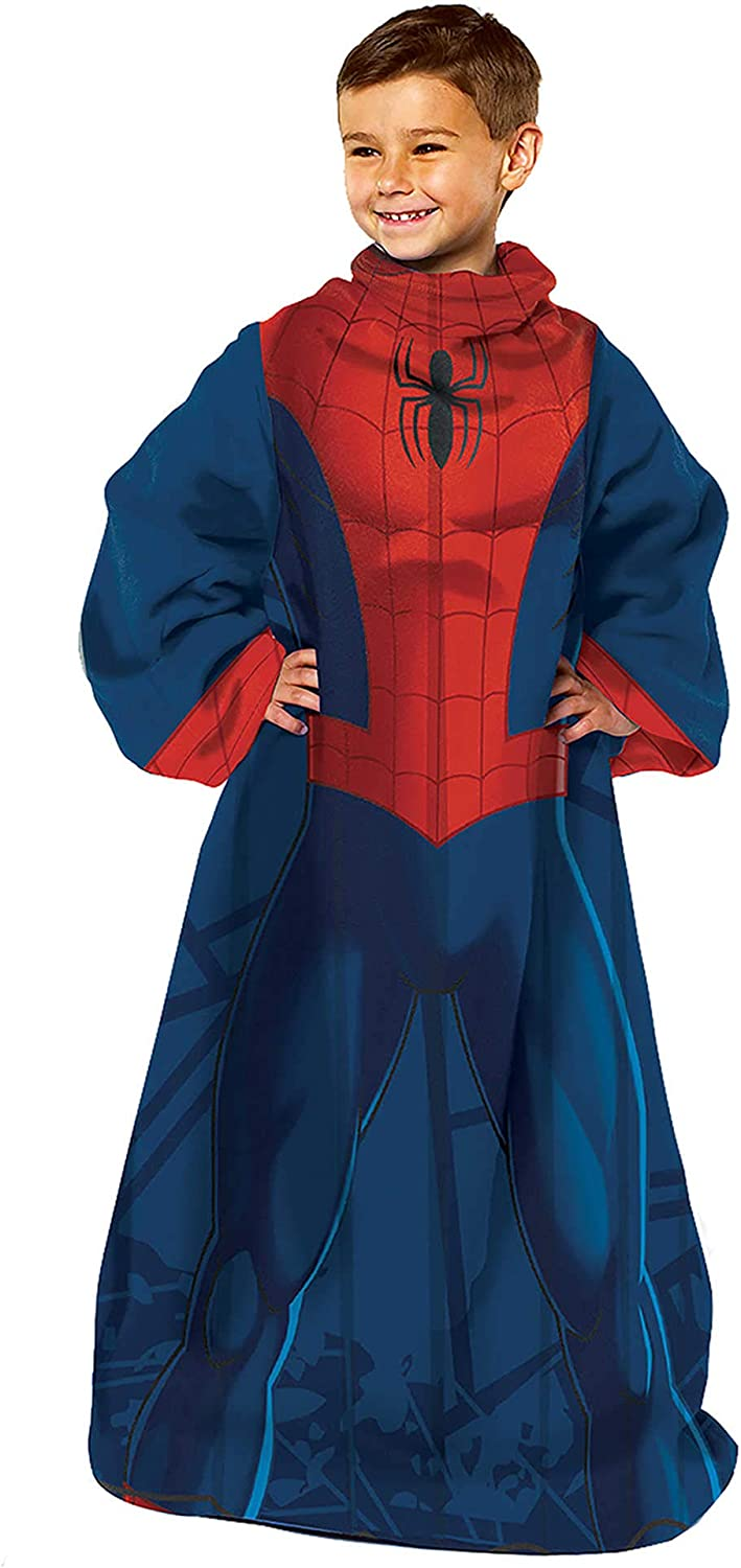 """Marvel's Spider-Man, """"Spider Up"""" Youth Comfy Throw Blanket with Sleeves, 48"""" x 48"""", Multi Color"""