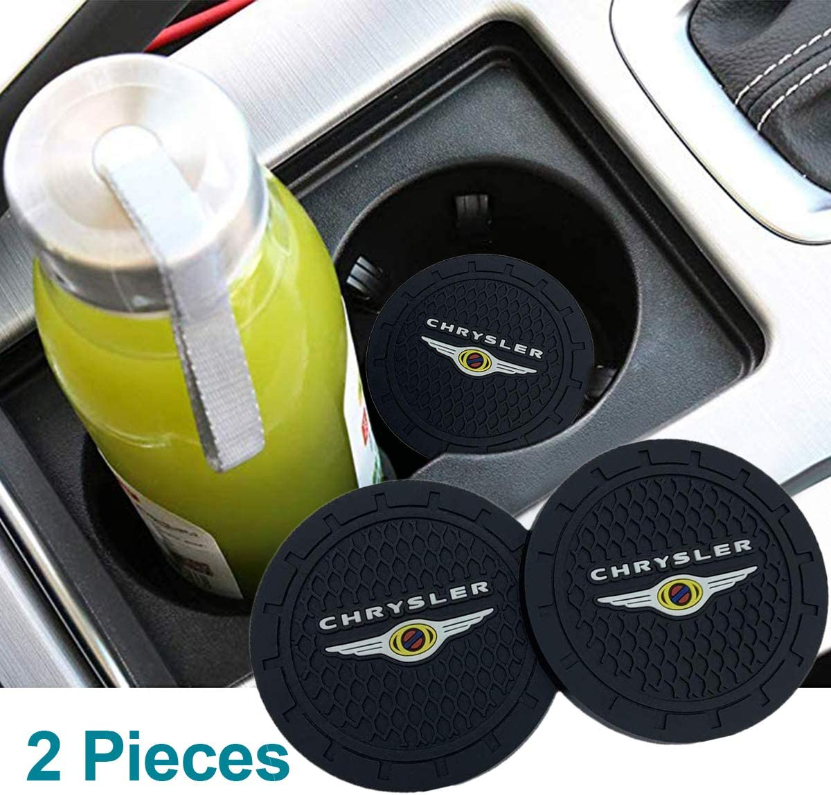 Auto sport 2.75 Inch Diameter Oval Tough Car Logo Vehicle Travel Auto Cup Holder Insert Coaster Can 2 Pcs Pack for Maserati Accessory