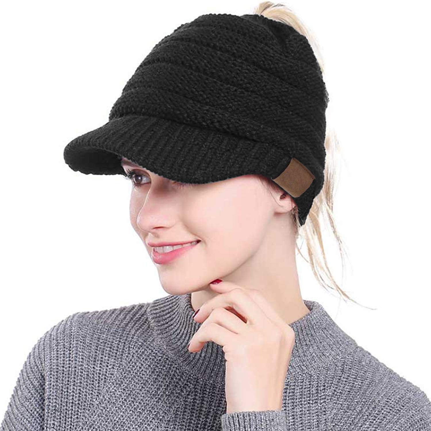 ea67cf97a Libertepe Ponytail Beanie Cable Knit Winter Hat with Visor Hole for Women  and Girls