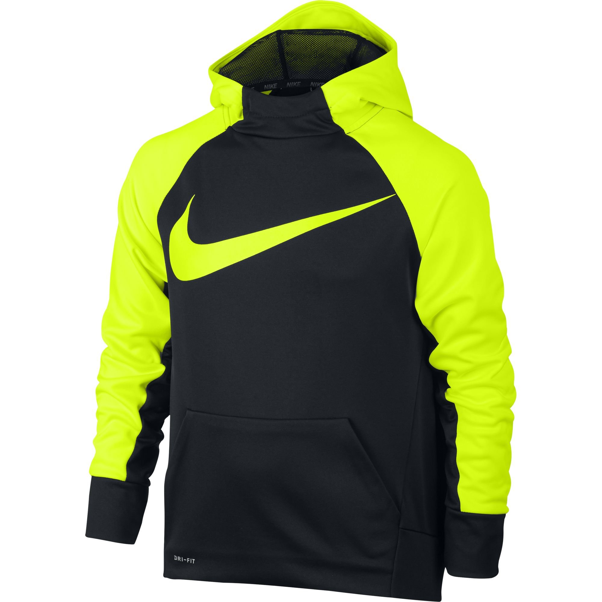 Nike Boy's Therma Training Hoodie Black/Volt Size Small
