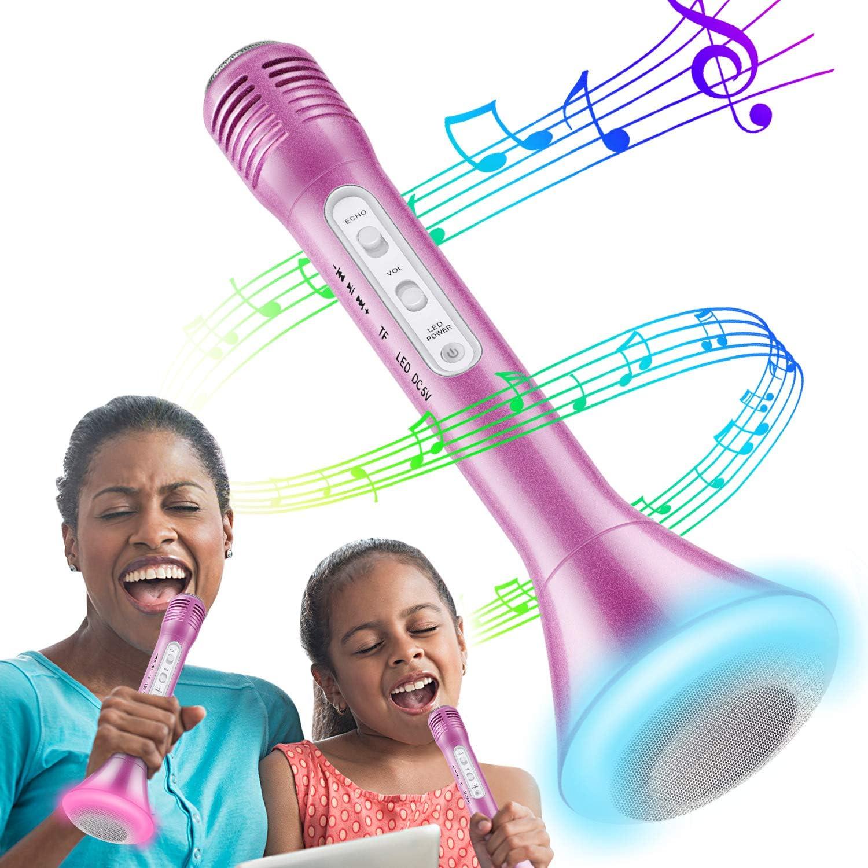 Micrófono Inalámbrico Karaoke, Bluetooth Altavoz Incorporado para Karaoke Batería de Compatible con PC/iPad/iPhone/Smartphone