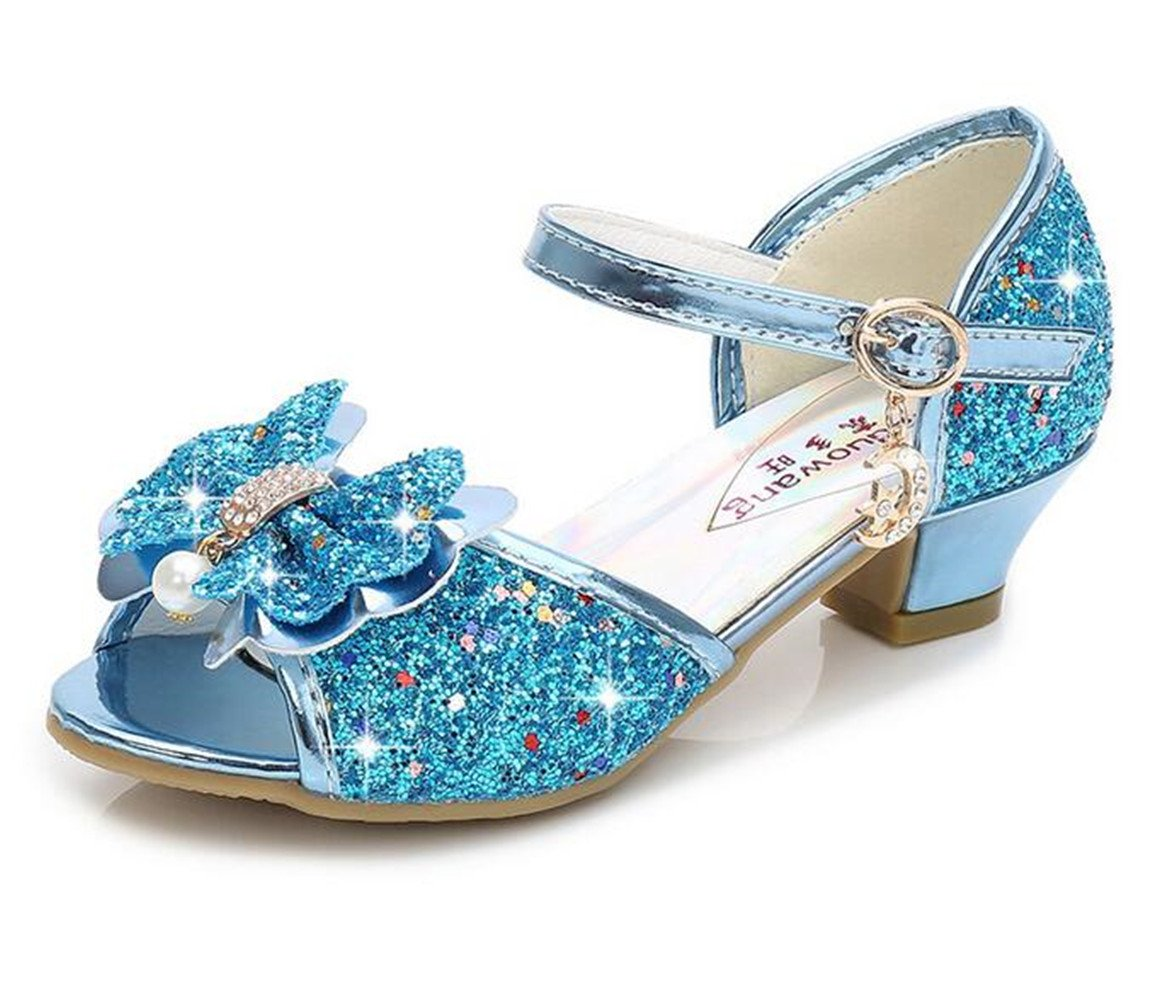 Bumud Kid's Glitter Sandals Little Girl's Sequin Pretty Party Dress Pumps Low Heels Princess Shoes (2 M US Little Kid, Blue)