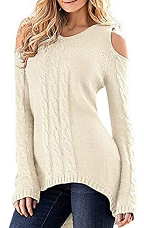 Merryfun Women s Cold Shoulder Sweater Fall Long Sleeve Knit ... 35d0b0282