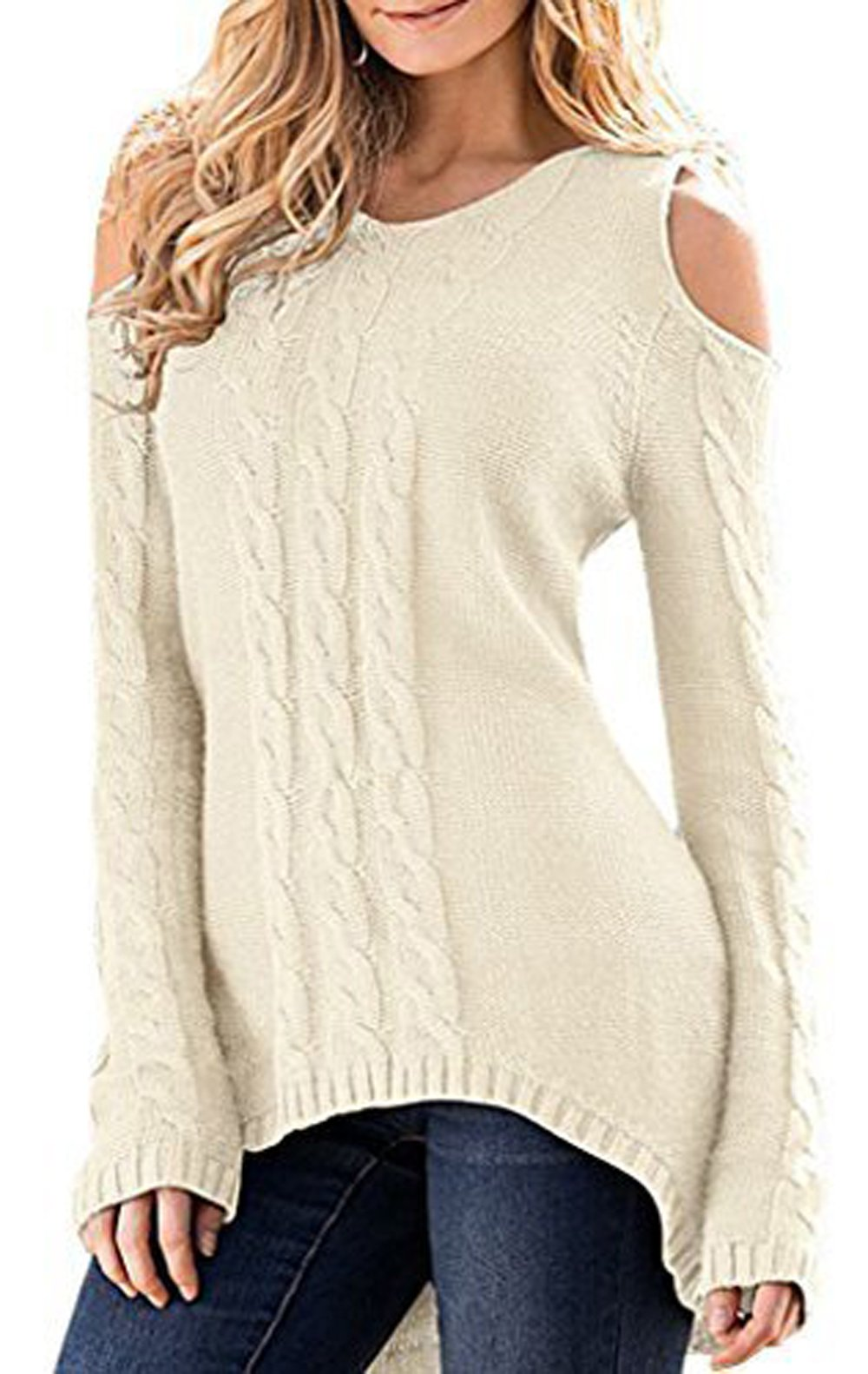Merryfun Women's Cold Shoulder Sweater Fall Long Sleeve Knit Pullover Tops Beige,L