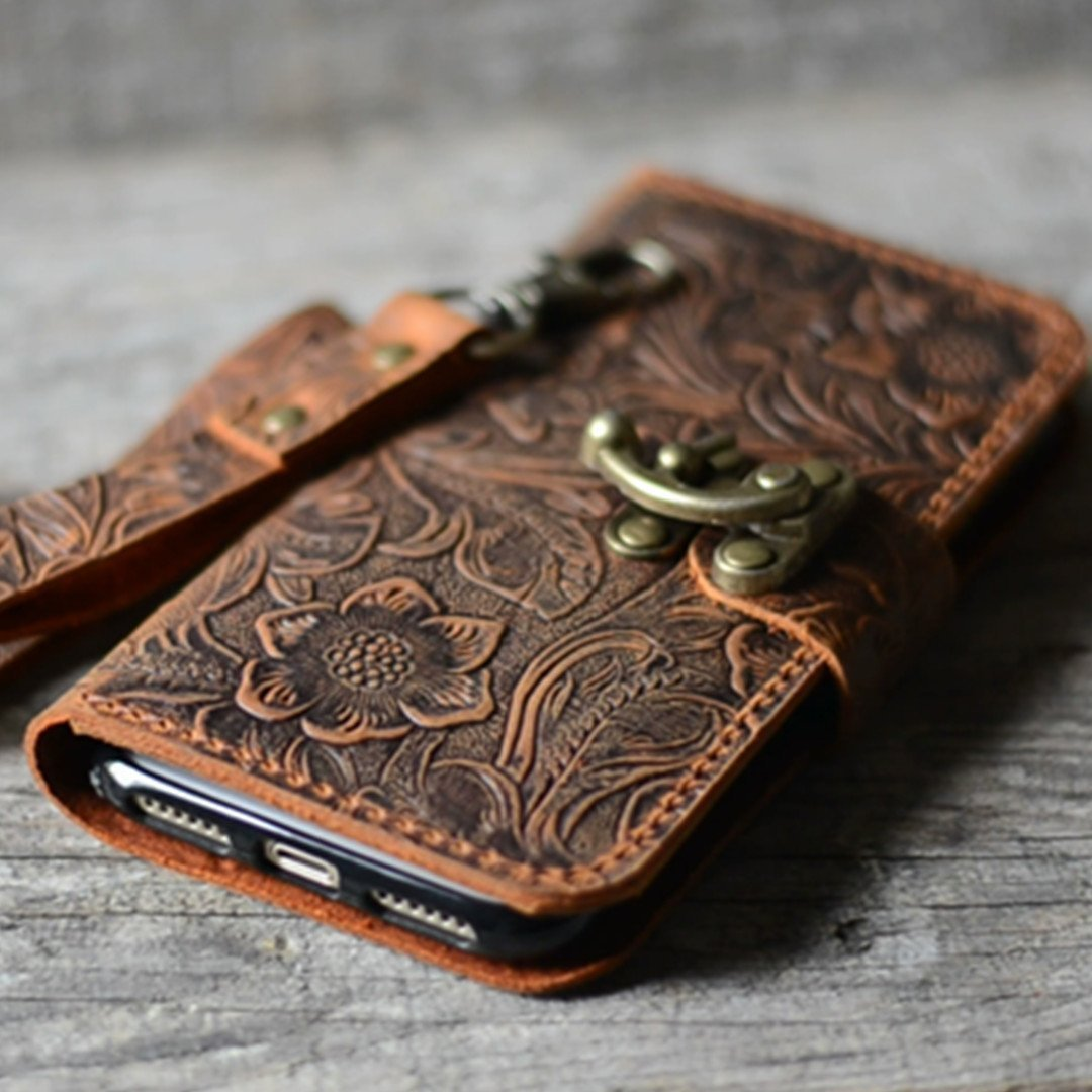 handmade Genuine leather wallet case for iphone X case for iphone 8/8 plus leather case for iphone 7/7 plus with wristlet (old brown) iphone 6/6S plus case -Italian by JJNUSA