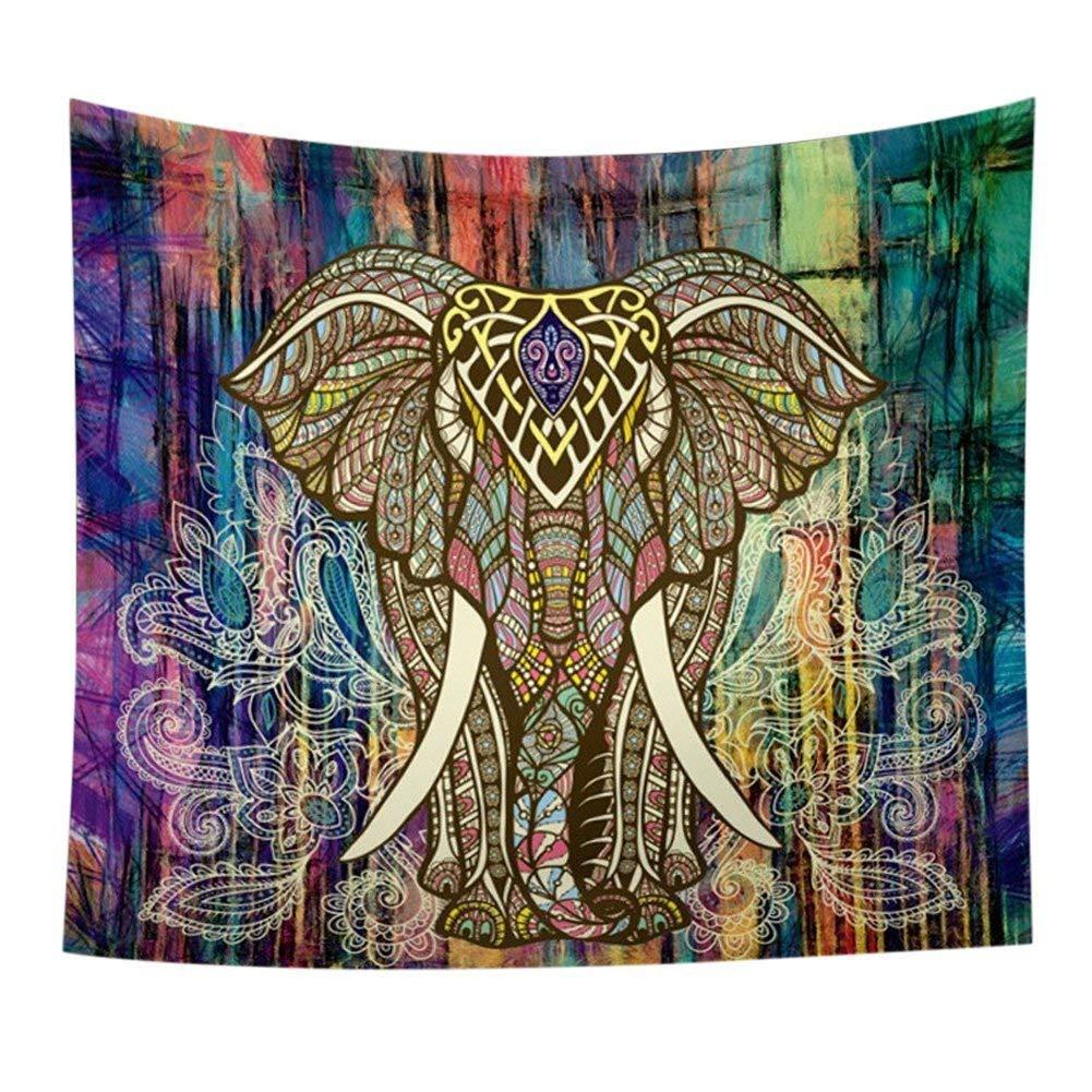 Arazzo da Parete, HailiCare 150*130cm Psichedelico Telo Elefante Mandala Indiano per Decorare la Stanza Casa Tovaglia da Picnic e Telo da Mare Arancione 7362