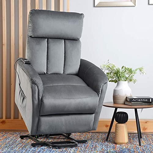 Power Lift Recliner, Rockjame Electric Lift Chair Sofa for Elderly with Remote Control and Side Pocket Grey