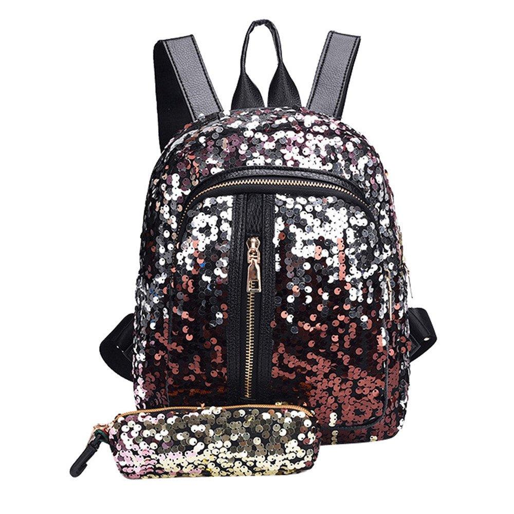 Glitter Bags, Girl Sequins Outdoor School Bag Backpack Travel Shoulder Bag and Shiny Clutch Bag Handbag Wallet 2PCS