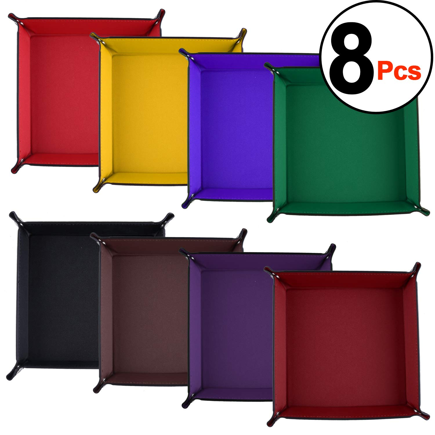 SIQUK 8 Pieces Dice Tray PU Leather Folding Square Dice Holder for Dice Games, 8 Colors by SIQUK
