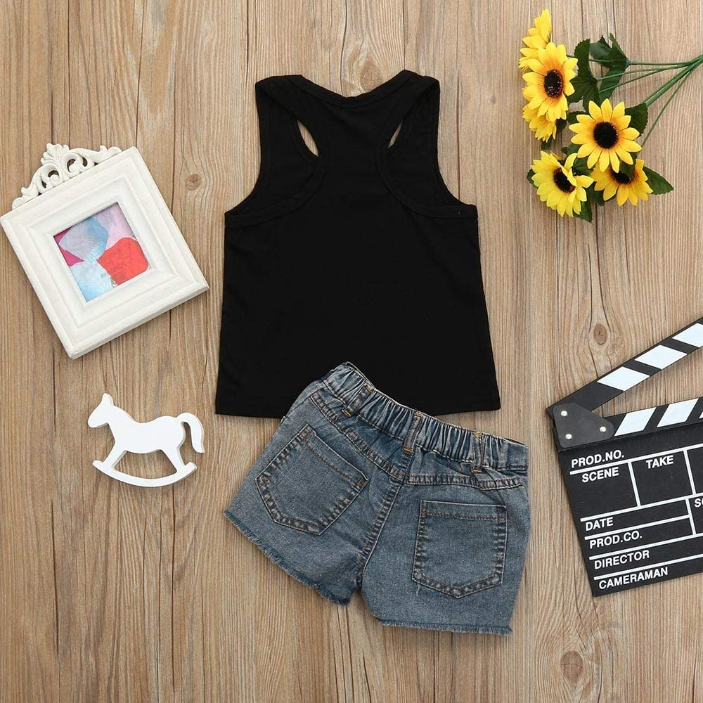 HGWXX7 Toddler Kids Baby Girl Letter Sleeveless T-Shirt Tops+Floral Denim Shorts Outfits Clothes Set