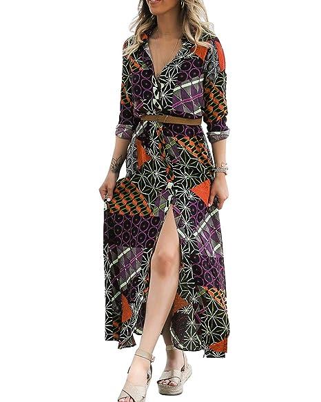 ZSRHH-Falda Vestido de Mujer Camisa con Botones de Patchwork ...