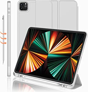 iMieet New iPad Pro 12.9 Case 2021(5th Gen) with Pencil Holder [Support iPad 2nd Pencil Charging/Pair],Trifold Stand Smart Case with Soft TPU Back,Auto Wake/Sleep(Light Gray)
