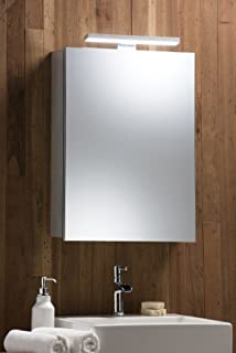 Illuminated Bathroom Mirror Cabinet With WIRE FREE Demister Shaver Socket  And Sensor Switch Aluminium Frame U0026