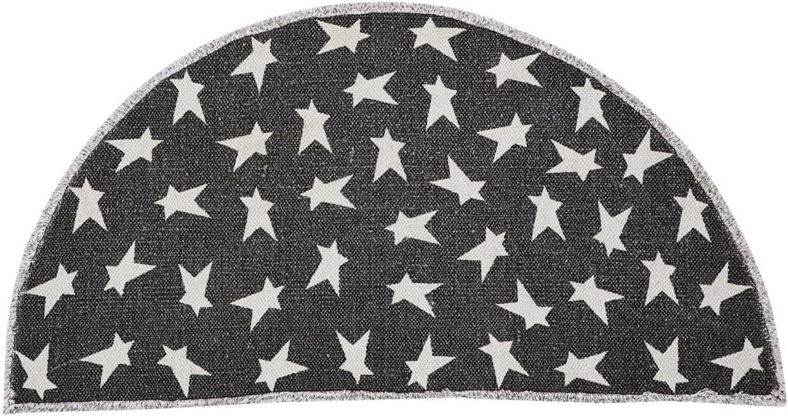 VHC Brands Flooring Primitive Star Half Circle Rug, 16.5 x 33 , Charcoal Black