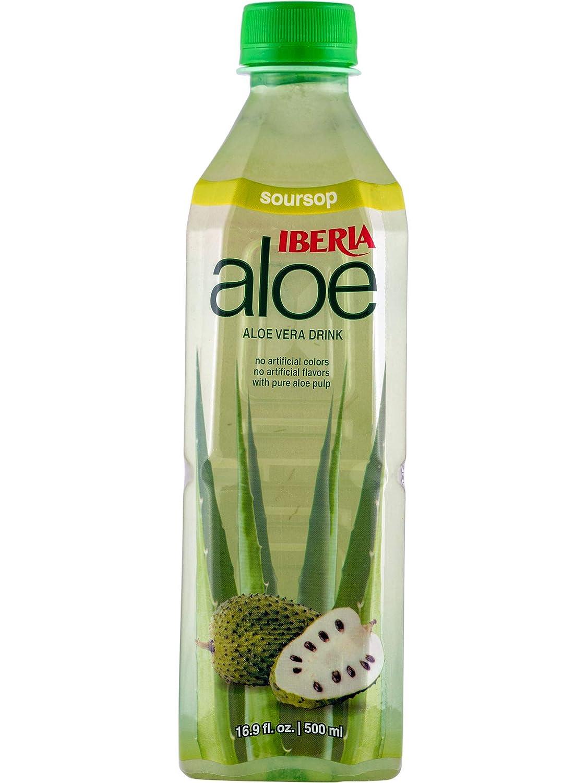 Iberia Aloe Vera Drink With Pure Aloe Pulp, Soursop, 16.9 Fl Oz (Pack of 24)