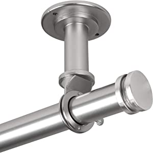 "Rod Desyne Bun 1"" Ceiling Curtain Rod/Room Divider, 28-48 inch, Satin Nickel"