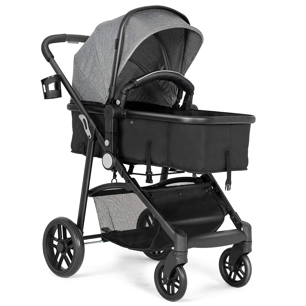 BABY JOY Baby Stroller, 2 in 1 Convertible Carriage Bassinet to Stroller, Pushchair with Foot Cover, Cup Holder, Large Storage Space, Wheels Suspension, 5-Point Harness Gray