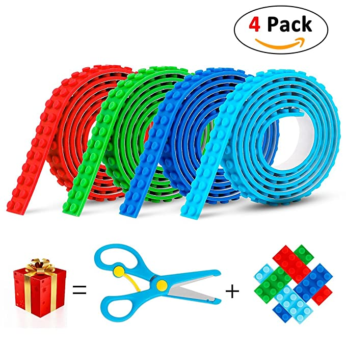 Lego Tape, OUSI【2018 NEW】Building Block Tape for Lego Brick Self Adhesive Baseplate Strips for Kids Non-toxic Cuttable Compatible with Major Brands 4 Rolls, Bonus a Safe Scissors & 4 PCS Cutting