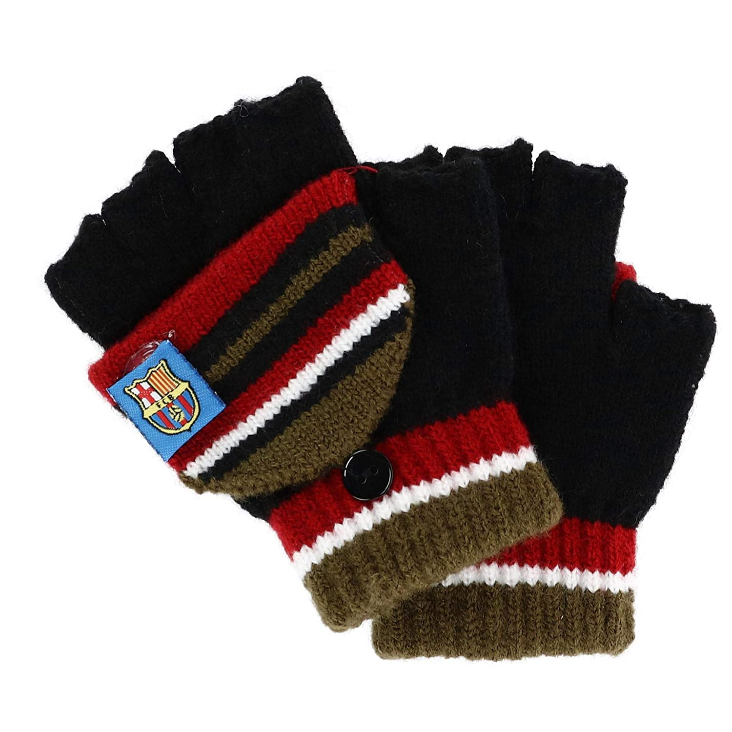Foemo Kids 5-8 Knit Convertible Winter Mitten Gloves, Burgundy