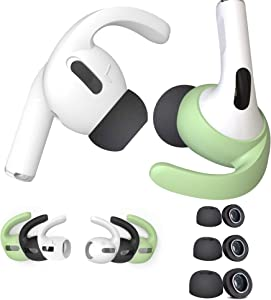 DamonLight [3 Color Airpods Pro Ear Hooks & 3 Size Memory Foam Tips ] Cover Buds for Apple AirPods Pro S/M/L