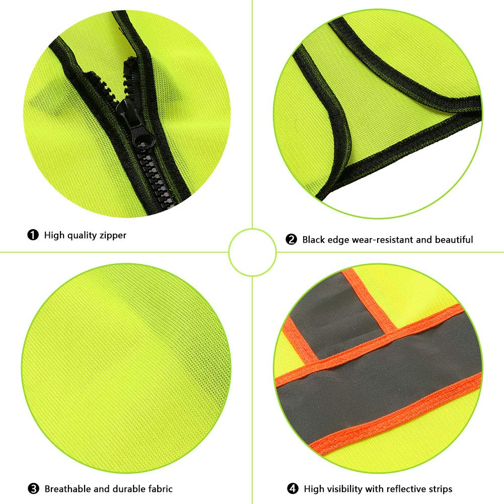 Tekware Safety Vest with High Reflective Strips, Pack of 10 Bright Neon Color Construction Protector with Zipper by Tekware (Image #5)