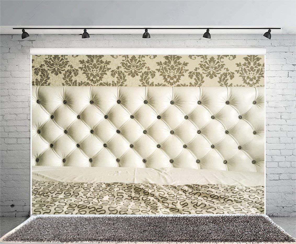 GoEoo 7x5ft Vinyl Photography Backdrop Romantic Bedroom Interior Design Headboard Upholstered White Tufted Scene Photo Background Children Baby Adults Portraits Backdrop