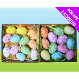 Easter Egg Decorations - 24 Assorted Colourful Speckled Eggs Hanging Tree Ornaments